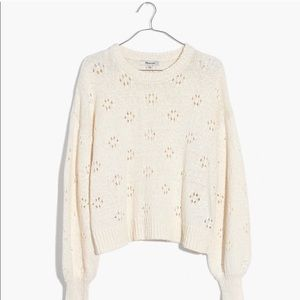 FLASH SALE Madewell Floral Ivory Pointelle Sweater